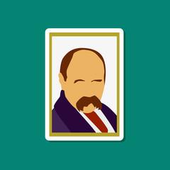 Obraz paper sticker on stylish background Taras Shevchenko - fototapety do salonu