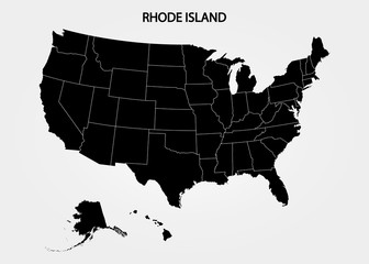 Rhode Island. States of America territory on gray background. Separate state. Vector illustration