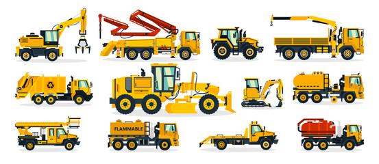 Set of construction equipment. Excavator, tractor, concrete pump, crane, garbage truck, grader, fuel truck, tow truck. Service vehicle. Vector illustration