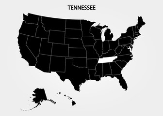 Tennessee. States of America territory on gray background. Separate state. Vector illustration