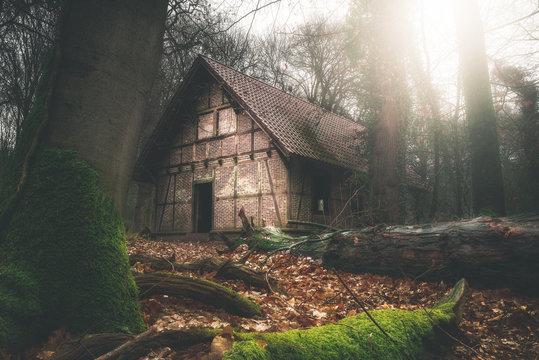 Vergessene Hütte im Wald