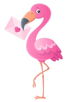 Flamingo with love letter topic 1