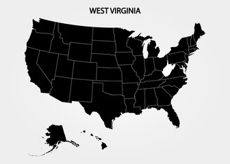 West Virginia - US State. States of America territory on gray background. Separate state. Vector illustration