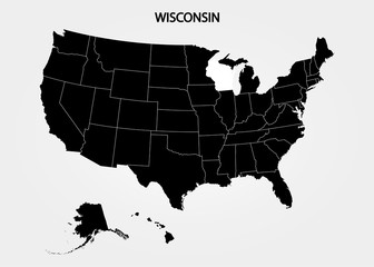 Wisconsin. States of America territory on gray background. Separate state. Vector illustration