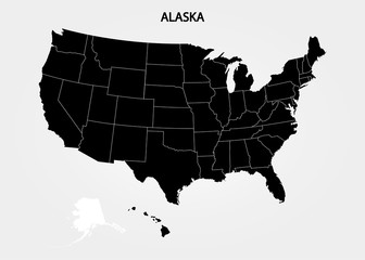 Alaska - US State. States of America territory on gray background. Separate state. Vector illustration