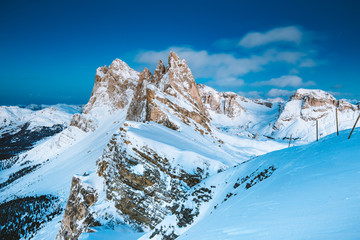 Seceda mountain peaks in the Dolomites at night in winter, South Tyrol, Italy