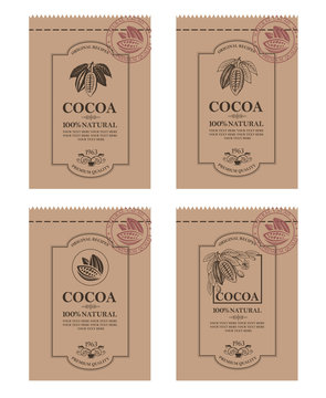 collection of packaging with cocoa beans, branch and leaves