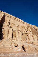 Colossus of The Great Temple of Ramesses II or Ramesses the Great at Abu Simbel Aswan Egypt