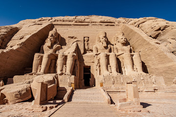 The front of the great temple of Abu Simbel dedicated to king Ramesses the Second now a UNESCO heritage site