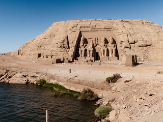 Abu Simbel Temple and Nasser Lake in front