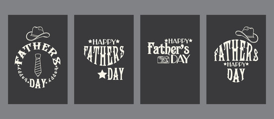 Vintage Father's day cards templates kit, universal elements for posters, flyers, web- sites, scrapbooking graphics