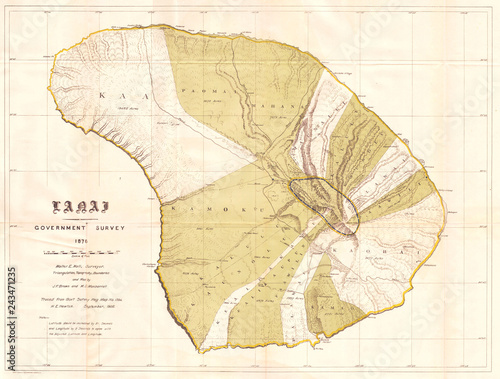 1878, Government Land Office Map of Lanai, Hawaii