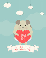 Vector cartoon style illustration of Valentine's day romantic gift card with cute dog holding heart in his hands. Be My Valentine text.