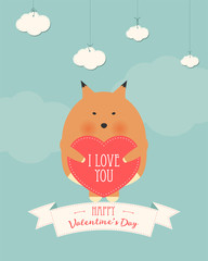 Vector cartoon style illustration of Valentine's day romantic gift card with cute fox holding heart in his hands. Be My Valentine text.
