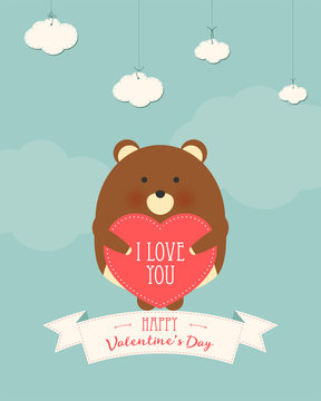 Vector cartoon style illustration of Valentine's day romantic gift card with cute bear holding heart in his hands. Be My Valentine text.