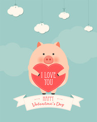 Vector cartoon style illustration of Valentine's day romantic gift card with cute pig holding heart in his hands. Be My Valentine text.