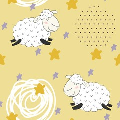 Seamless pattern with funny sheep. Sweet dreams.