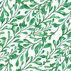 Beautiful watercolor pattern with green leaves
