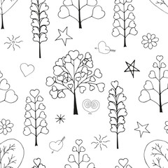 Seamless pattern made from floral objects. romantic herbs and trees. Black and white, monochrome. Hand drawn endless picture. Vector illustration.