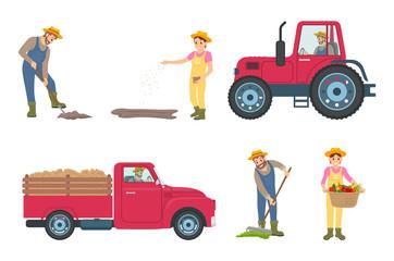 Farmer Digging and Planting Vector Illustration