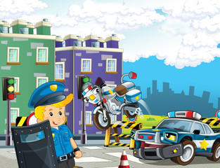 cartoon scene with police car and sports car car at city police station and policeman - illustration for children