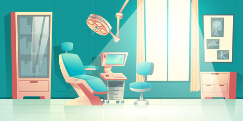 Dentists office cartoon vector empty interior with comfortable chair, surgical light unit, ultrasonic diagnostic apparatus or computer and x-rays on wall illustration. Modern dental medical equipment