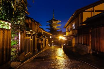 Poster Kyoto 京都市 八坂の塔 夜景