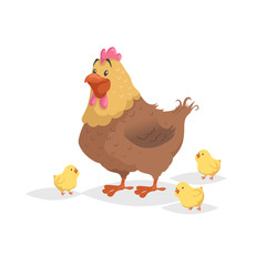 Cartoon funny brown hen with little yellow chickens. Comic trendy flat style with simple gradients. Mother and family vector illustration. Isolated on white background.