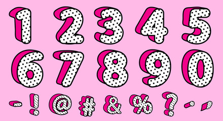 Cute black polka dots 3D set of numbers and signs. Vector LOL girly doll surprise style. Banner with hot pink shadow. Font design kids age. Picture for birth invite vector card. Valentine's day saleCu