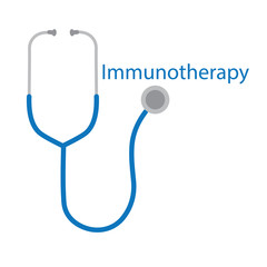 Immunotherapy word and stethoscope icon- vector illustration