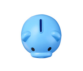 Top view colorful empty blue piggy bank or money savings box isolated on white background with clipping path