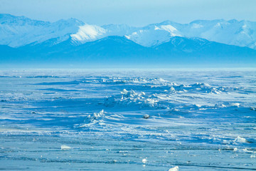 The Baikal lake in winter by day