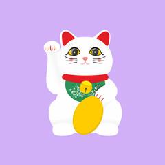 Vector flat style Japanese Lucky Cat Maneki Neko. Isolated on white background.