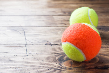 Tennis Ball on Wood Background, Sport Concept and Idea, Rustic Style.
