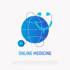 Logo for online medicine: stethoscope on globe. Flat gradient icon. Modern vector illustration.