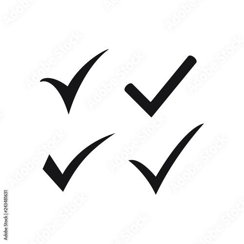 Black check mark icon  Tick symbol, tick icon vector