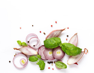 fresh food vegetables and spices on white background