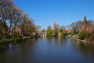 Panoramic view Minnewaterpark Bruges, Belgium (park of love)