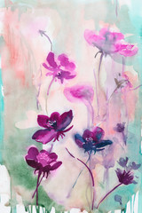 field flowers. spring Summer. background. watercolor. stems.