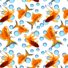Pattern with goldfish on a white background.