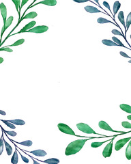Beautiful watercolor decoration made of green hand drawn leaves with copy space, frame for invitations, print