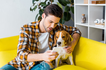 handsome man in checkered shirt sitting on sofa with dog while using smartphone