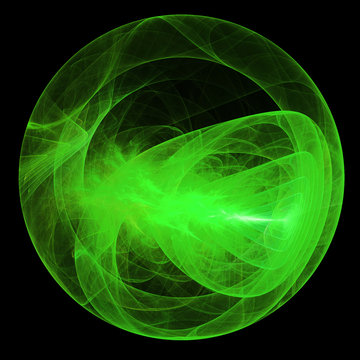 Green magic sphere isolated on black background