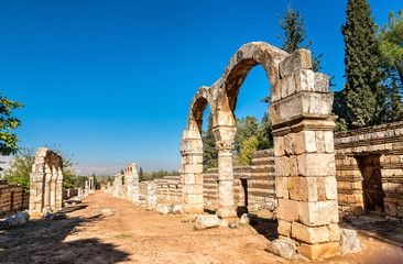 Ruins of the Umayyad citadel at Anjar. The Beqaa Valley, Lebanon