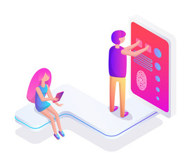 Virtual Reality Man and Screen Vector Illustration