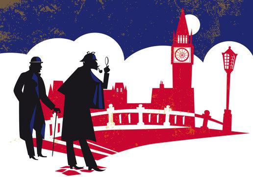 Sherlock Holmes. Detective, vector illustration