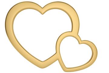 Golden heart shaped frame isolated on white background 3D illustration.