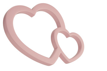 Pink heart shaped frame isolated on white background 3D illustration.