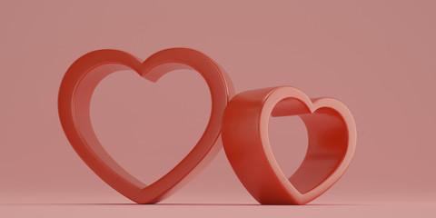 Red heart shaped frame on pink background 3D illustration.