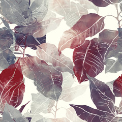 imprints abstract leaves poinsettia mix repeat seamless pattern. digital hand drawn picture with watercolour texture.
